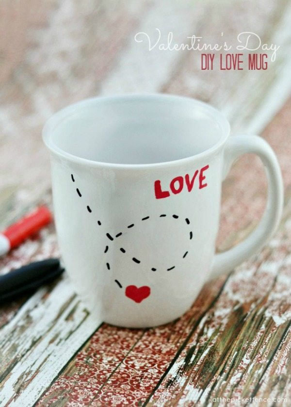 Valentines Day DIY Love Mug via At the Picket Fence, Valentines Gifts and Crafts via Refresh Restyle