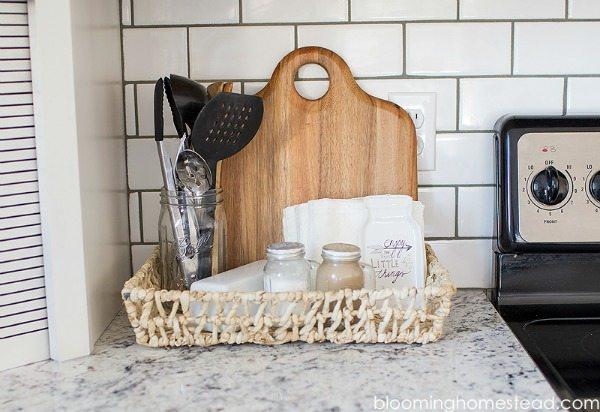Blooming Homestead Kitchen Mason Jar Utensils, Mason Jar Organizing Ideas via Refresh Restyle