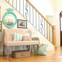 Bright and cheery entry way with aqua and turquoise - federal convex mirror