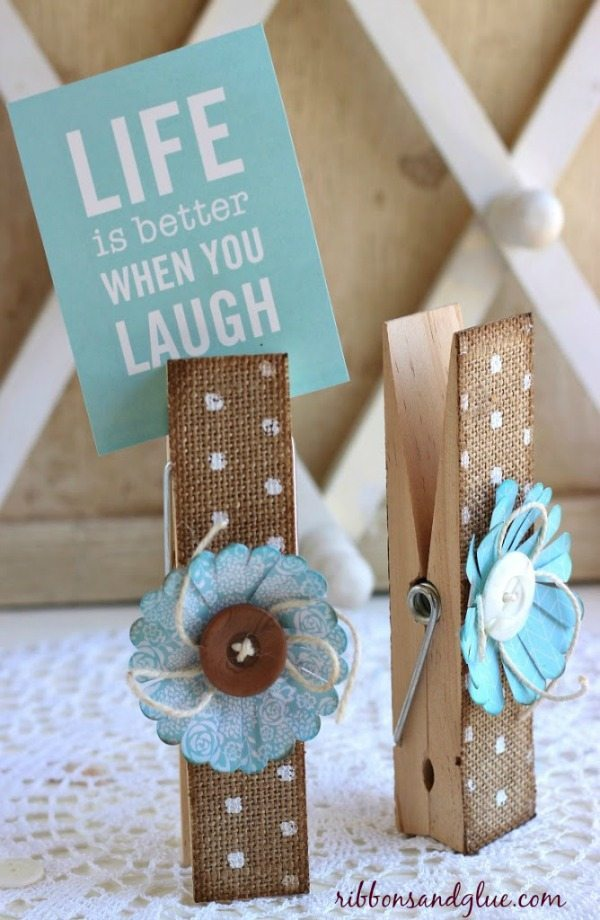 Burlap Clothespins via Ribbons and Glue, Burlap Decor Ideas via Refresh Restyle