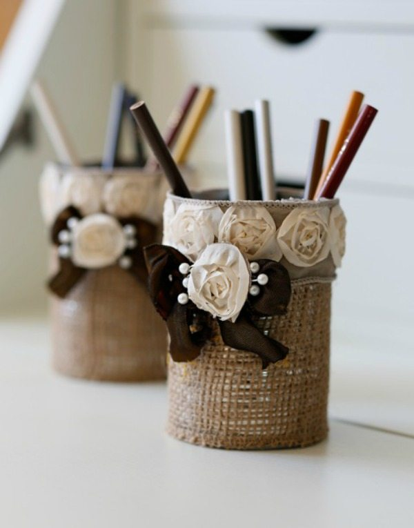 Shabby Chic Pencil Cup Holder via Happy Happy Nester, Burlap Decor Ideas via Refresh Restyle