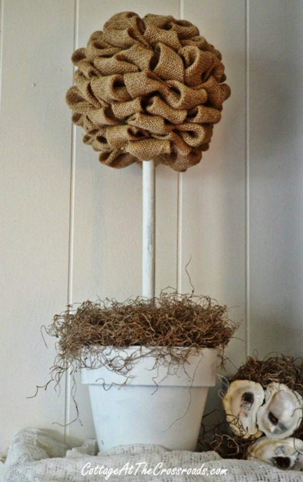 Burlap Topiary via Cottage at the Crossroads, Burlap Decor Ideas via Refresh Restyle