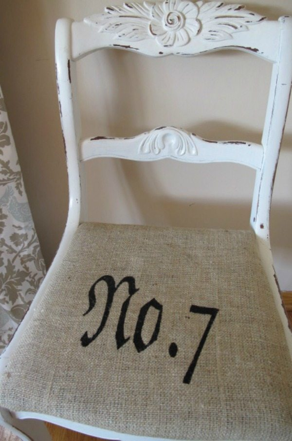 Burlap Chair Cover with Stencil via Superfluous, Burlap Decor Ideas via Refresh Restyle