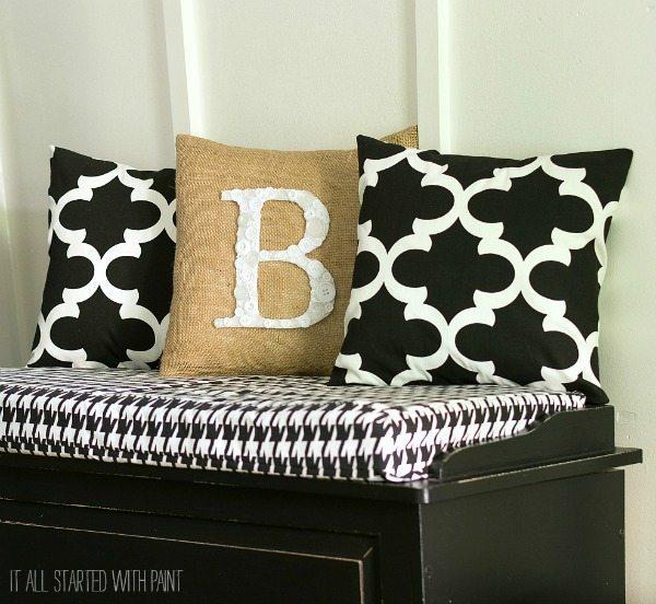 Button Monogram Pillow via It All Started with Paint, Burlap Decor Ideas via Refresh Restyle