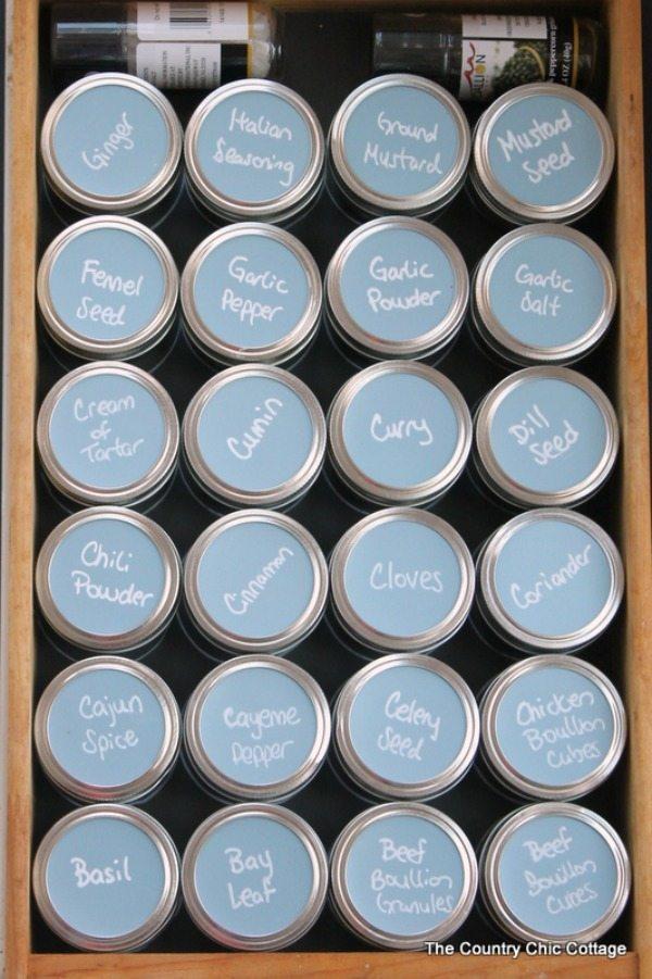 The Country Chic Cottage Mason Jar Spice Organizer, Mason Jar Organizing Ideas via Refresh Restyle