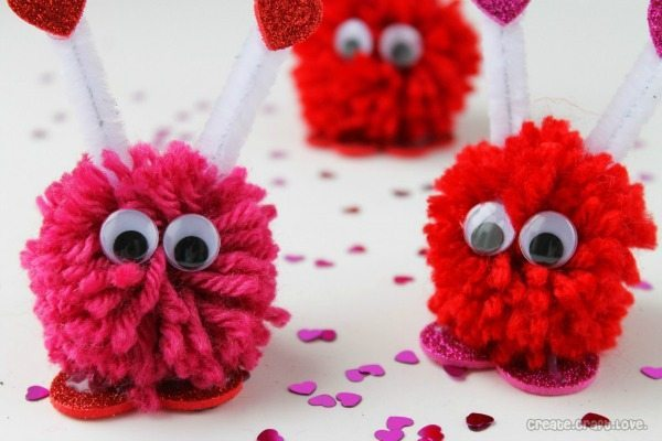 Valentine Pom Monsters via Create Craft Love, Valentines Gifts and Crafts via Refresh Restyle