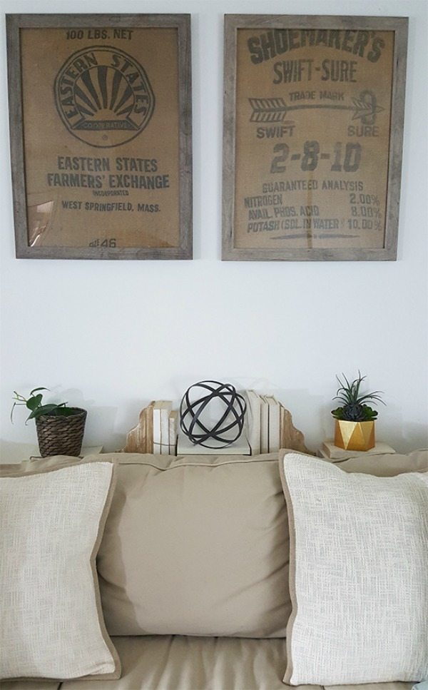DIY Wall Art Framed Burlap via The Honeycomb Home, Burlap Decor Ideas via Refresh Restyle
