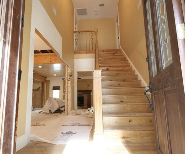 Entry after walls removed before finished and painted at Alabama farmhouse