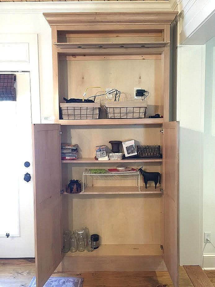 Former Tv Cabinet Is Now A Mudroom Drop Zone