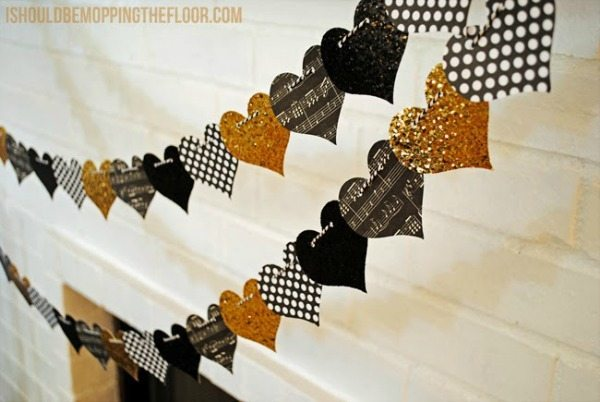 Glittery and Graphic Heart Garland via I should be mopping the floor, Valentines Gifts and Crafts via Refresh Restyle