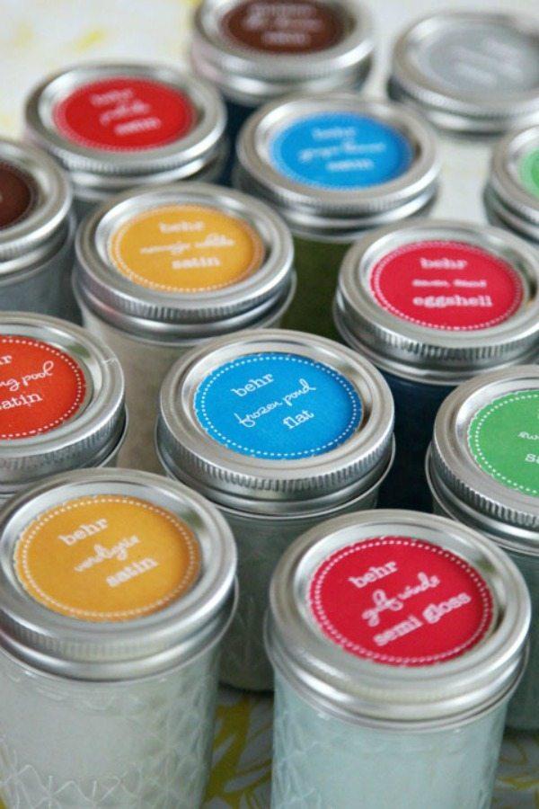 IHeart Organizing Mason Jar Paint Cans, Mason Jar Organizing Ideas via Refresh Restyle