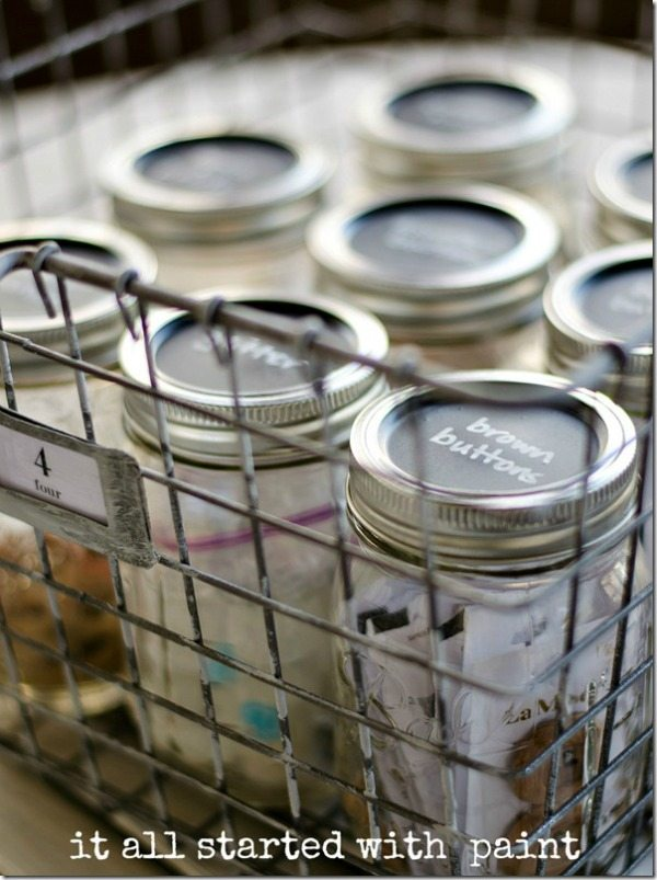 it all started with paint Mason Jar Craft Storage, Mason Jar Organizing Ideas via Refresh Restyle