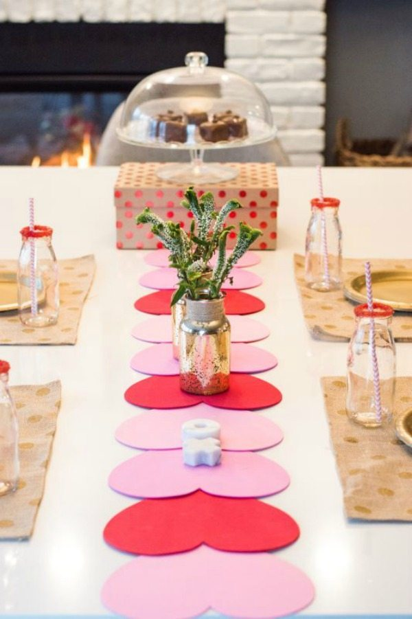 Let's Fete Valentine's DIY Table Runner via A Night Owl Blog, Valentines Gifts Crafts via Refresh Restyle