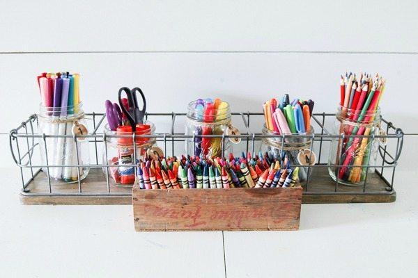 Little House of Four Kids Art Table Storage, Mason Jar Organizing Ideas via Refresh Restyle