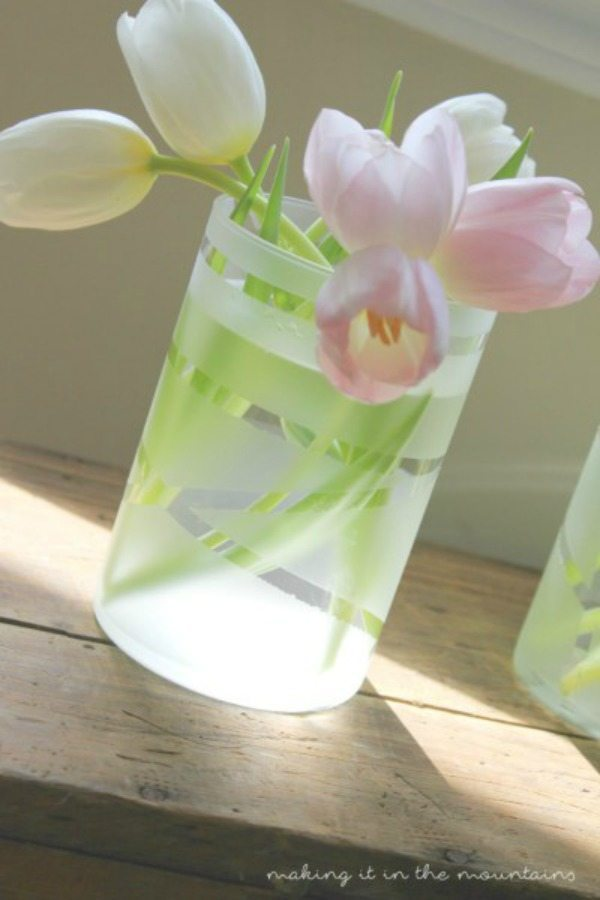 Making it in the Mountains, Frosted Dollar Store Vases, Valentines Gifts and Crafts via Refresh Restyle