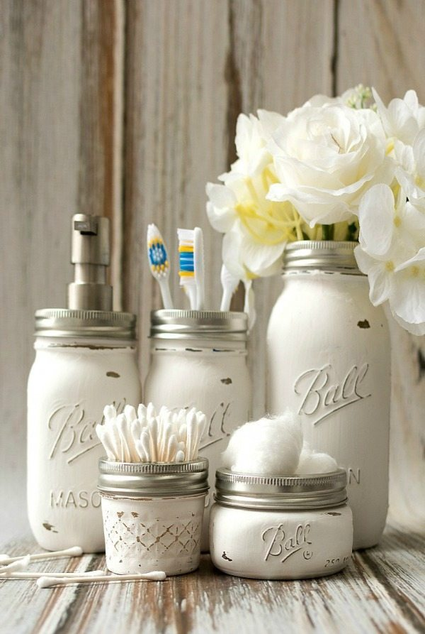 Mason Jar Bathroom Storage Accessories, Mason Jar Organizing Ideas via Refresh Restyle