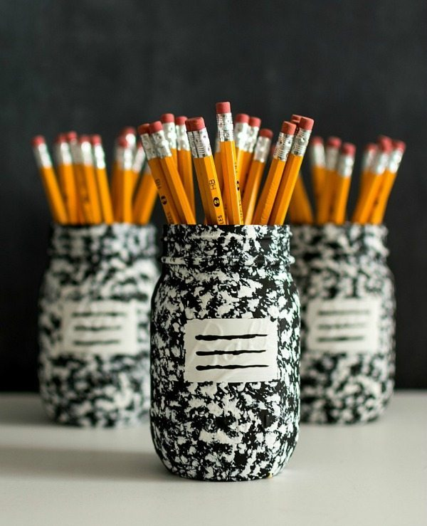 Mason Jar Crafts Composition Notebook Pencil Holder, Mason Jar Organizing Ideas via Refresh Restyle