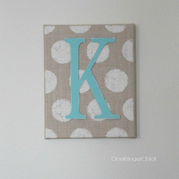 Polka Dot Monogrammed Burlap Canvas Art via One Krieger Chick, Burlap Decor Ideas via Refresh Restyle
