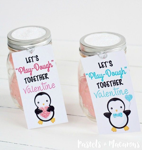 Pastels & Macarons, Penguin Valentine Cards, Strawberry Glitter Play Dough, Valentines Gifts and Crafts via Refresh Restyle