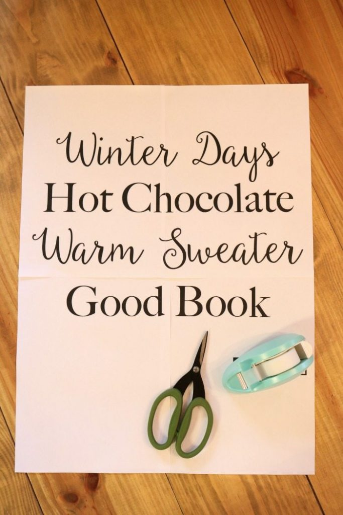 Print out for winter chalkboard quote