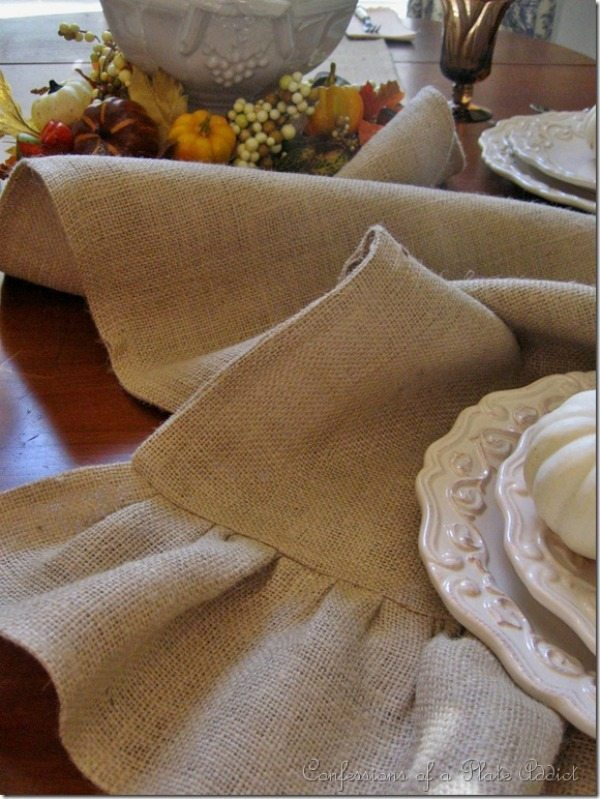 Ruffled Burlap Table Runner via Confessions of a Plate Addict, Burlap Decor Ideas via Refresh Restyle