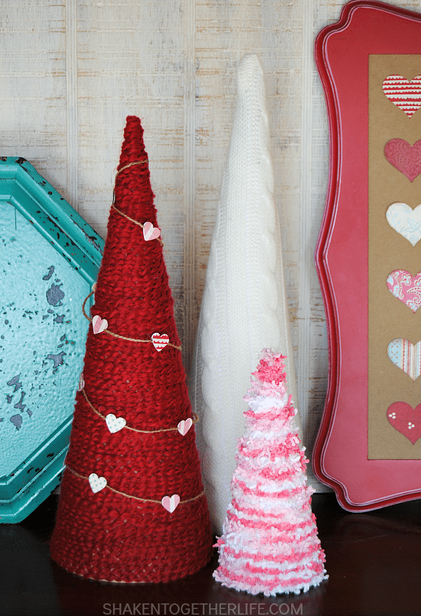 Shaken Together Life, Valentine Yarn Wrapped Trees, Valentines Gifts and Crafts via Refresh Restyle