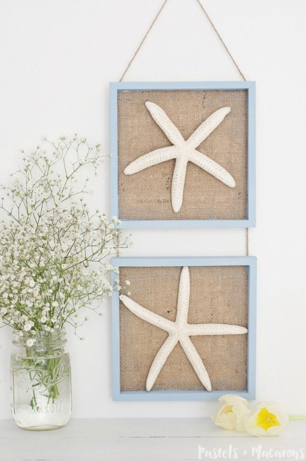 Seashell Wall Hanging Art via Pastels & Macarons, Burlap Decor Ideas via Refresh Restyle