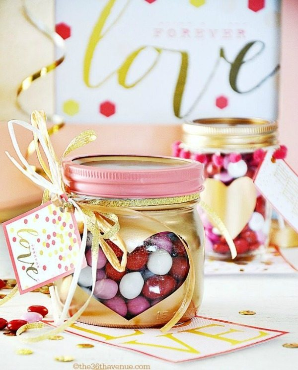 Valentines Day Gift Heart Jars via The 36th Avenue, Valentines Gifts and Crafts via Refresh Restyle