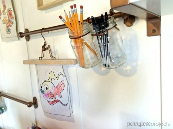 The Weathered Fox Mason Jar Office Storage, Mason Jar Organizing Ideas via Refresh Restyle
