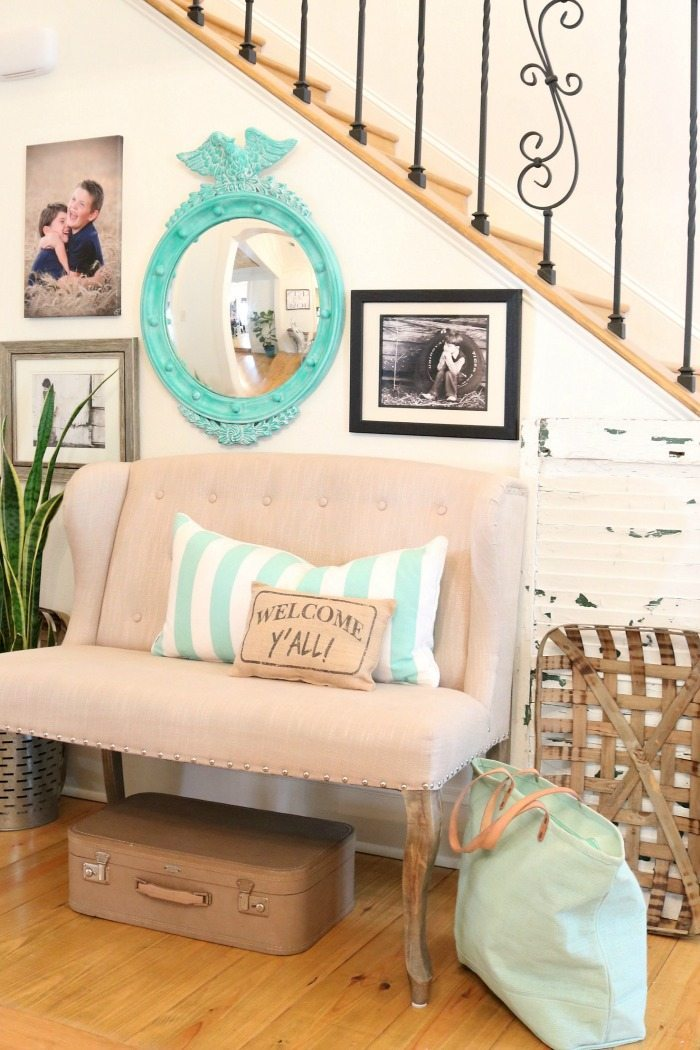 Turquoise mirror for the entry - a thrift store makeover with paint and wax - federal style convex mirror by Refresh Restyle