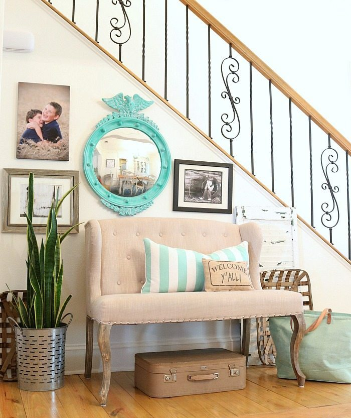 Welcome y'all cute pillow and the turquoise accents - mirror is a thrifty find