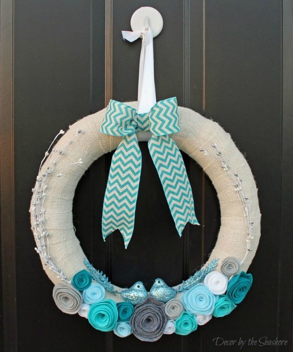 Winter Burlap Wreath via Decor by the Seashore, Burlap Decor Ideas via Refresh Restyle