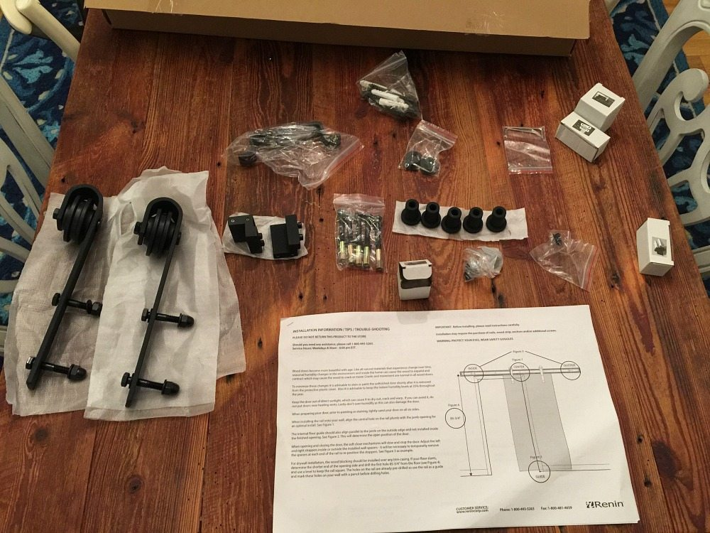 Barn door kit includes great directions for installing