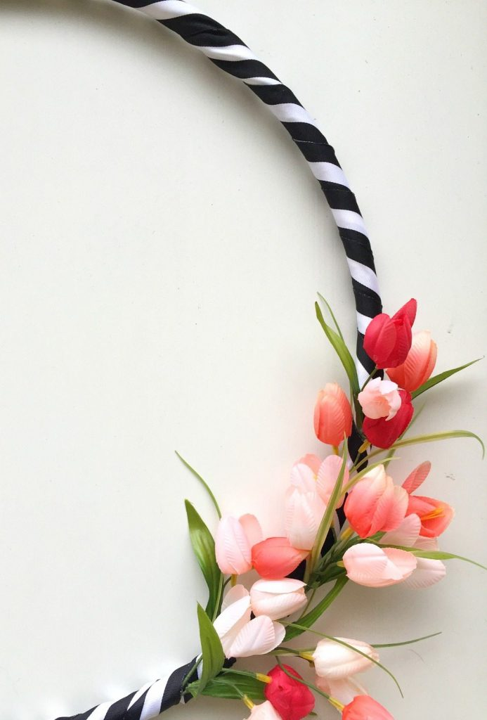 Black and white ribbon with tulips on a hula hoop