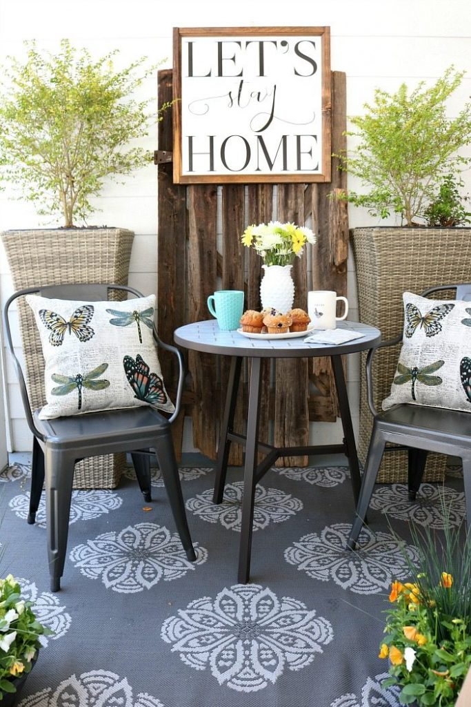 Farmhouse porch refresh perfect for breakfast or happy hour