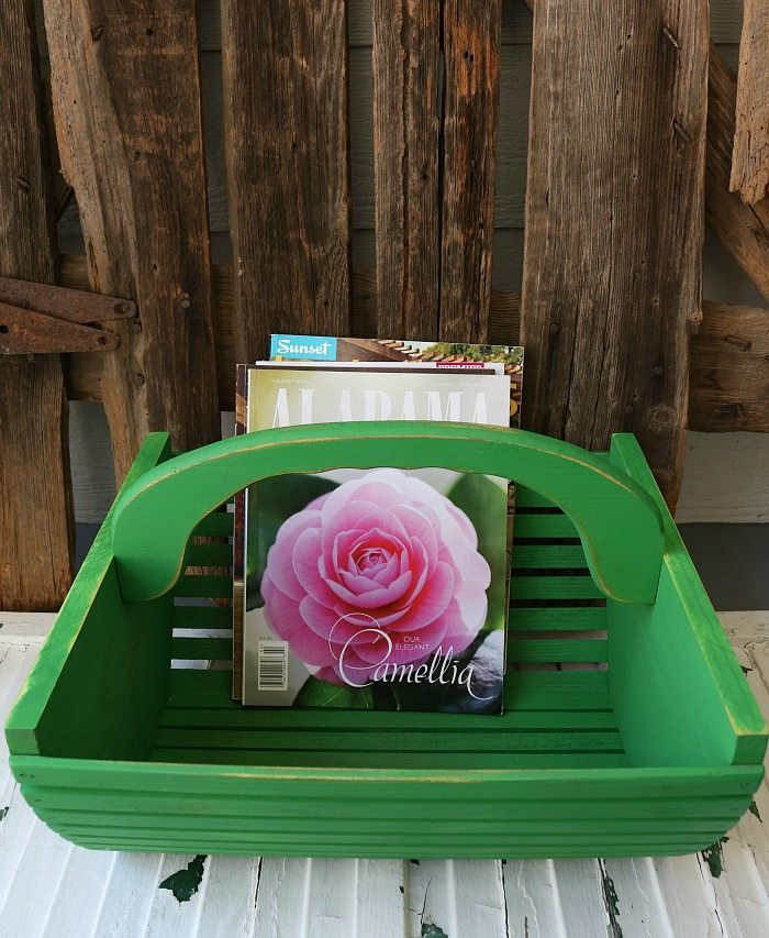 Green farmhouse tote made from a repurposed thrifty find great for magazines