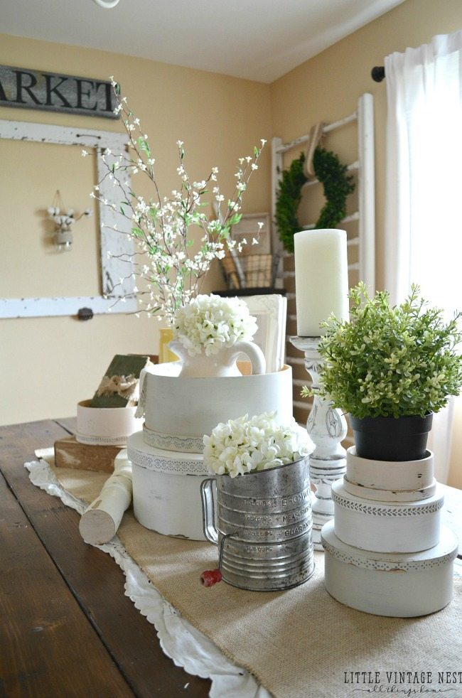 Little Vintage Nest, Spring Centerpieces via Refresh Restyle