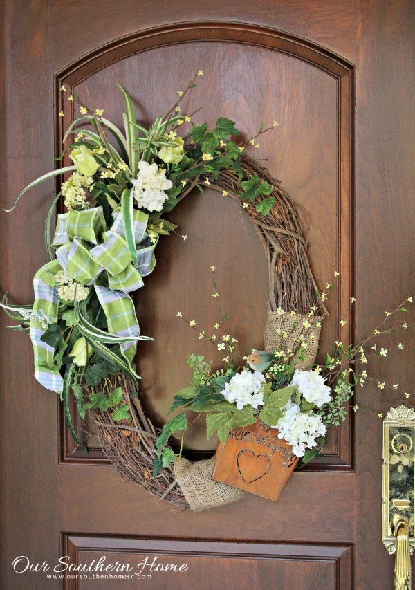Our Southern Home Upcycled Spring Wreath, Spring Wreaths and Door Decor via Refresh Restyle