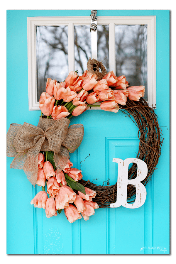 Sugar Bee Crafts Tulip Wreath, Spring Wreaths and Door Decor via Refresh Restyle