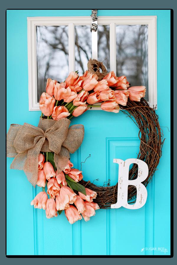 Sugar Bee Crafts Tulip Wreath, Spring Wreaths and Door Decor via Refresh Restyle