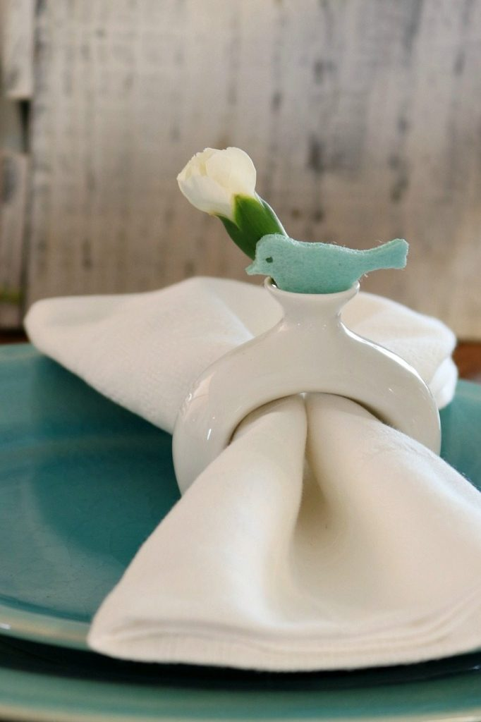 Buds and birds for the napkin rings at Refresh Restyle