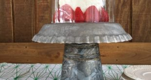 Cloche covered galvanized cake stand