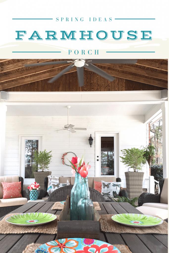 Colorful spring ideas for farmhouse porch