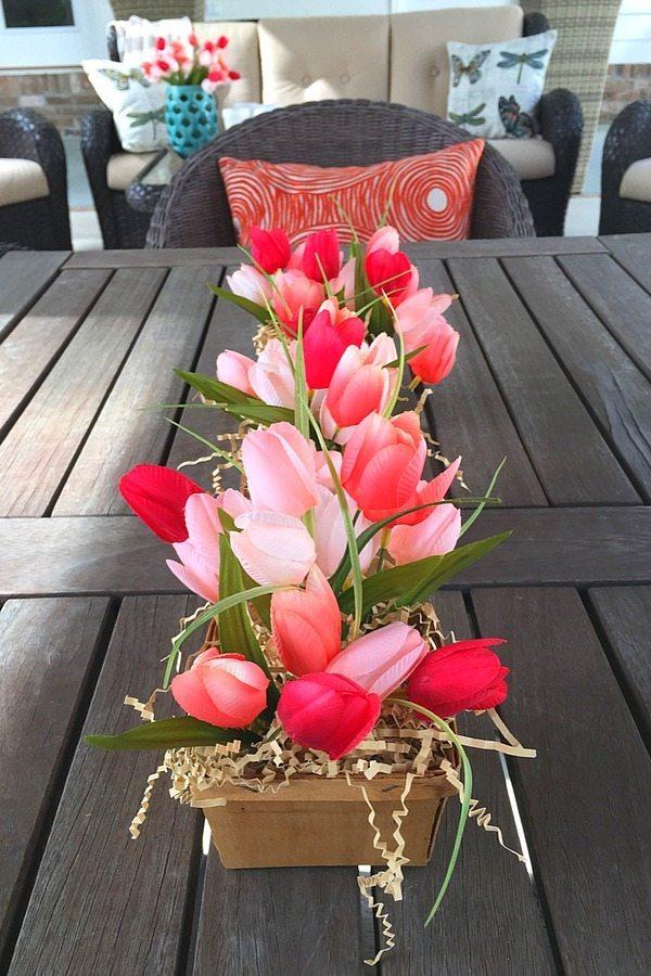 Farmhouse Spring centerpiece with pretty tulips