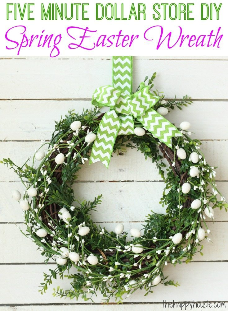 Five-Minute-Dollar-Store-DIY-Spring-Easter-Wreath-at-thehappyhousie.com_