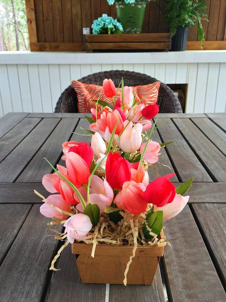 Spring tulips make a great farmhouse table centerpiece