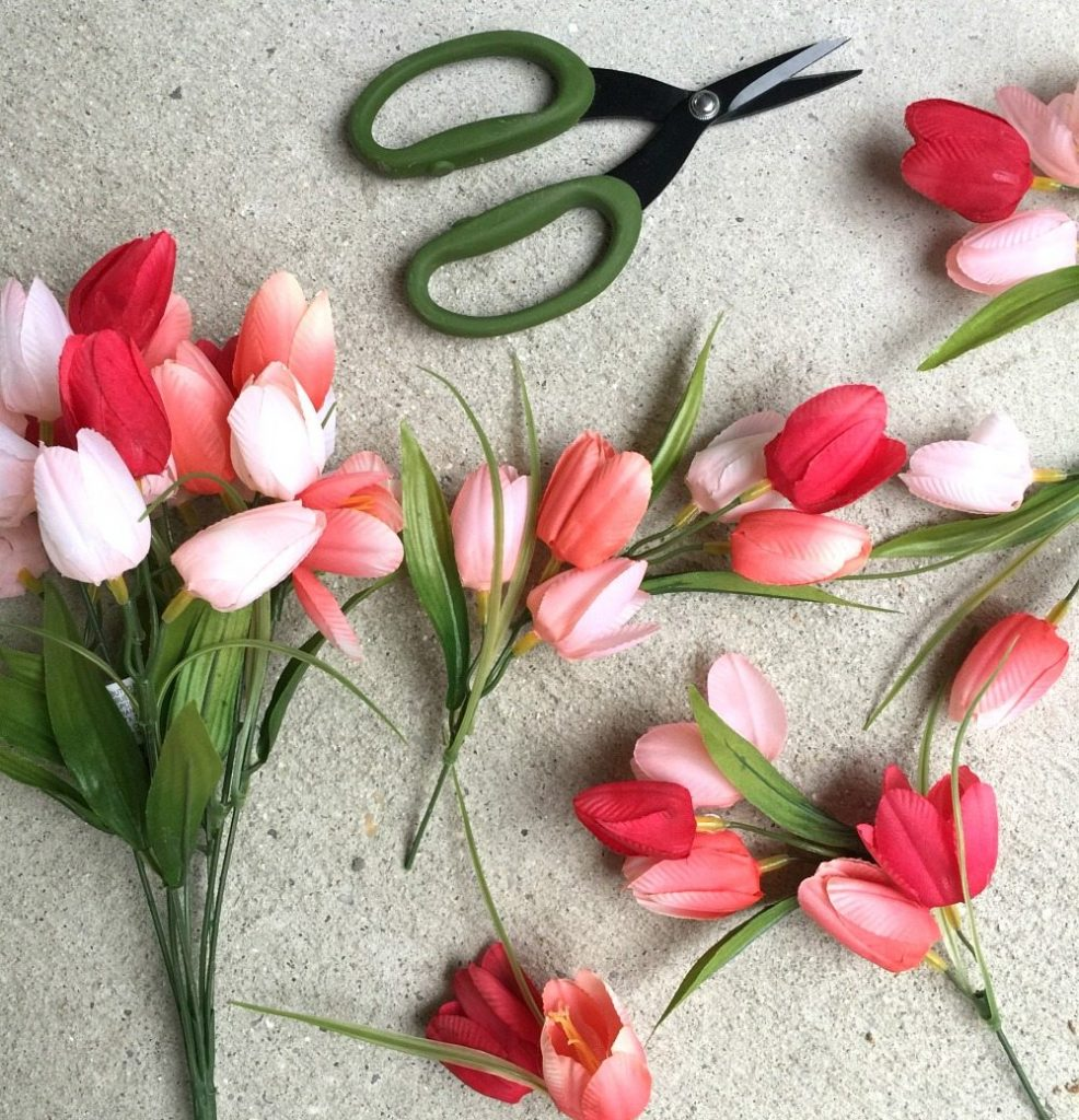 Trim your tulips for the hula hoop wreath