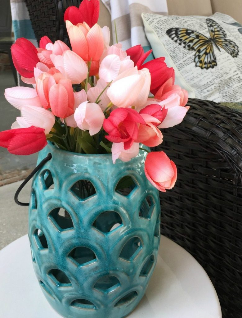 Tulips in a candle holder very spring