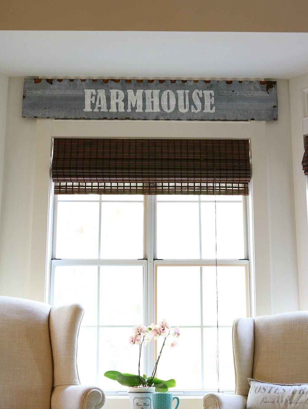 Chicken coop top for a metal farmhouse sign