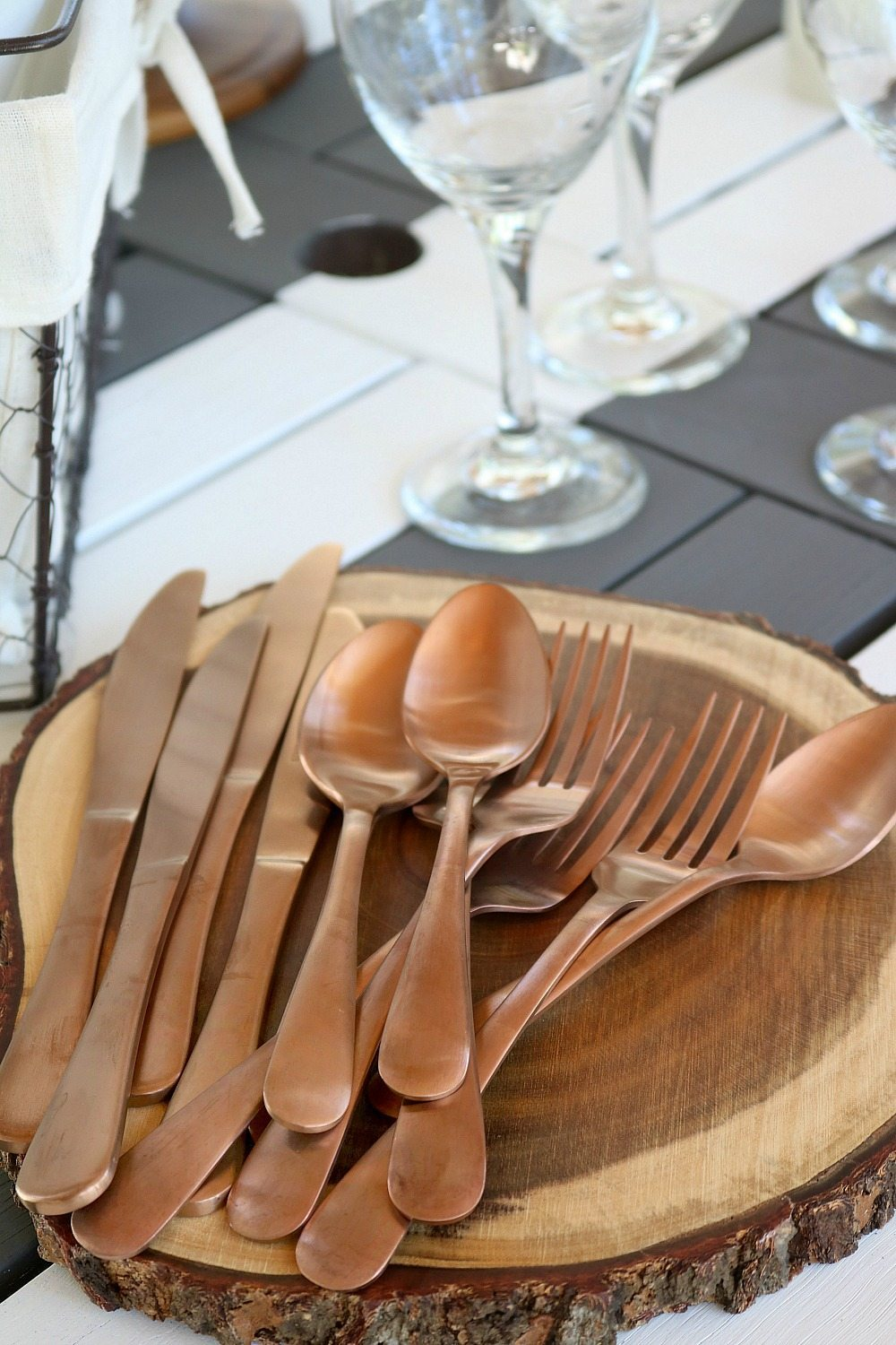 Copper tone flatware from Better Homes and Gardens at Walmart